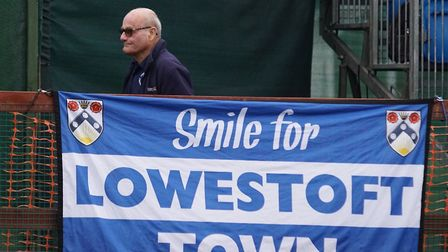 A Lowestoft Town supporter takes in the 8-0 defeat at Dorking Wanderers. Picture: Shirley D Whitlow