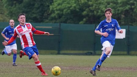 Lowestoft's Cion Wren in action against Dorking Wanderers. Picture: Shirley D Whitlow
