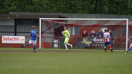 Lowestoft Town keeper Mitchell Ware in action against Dorking Wanderers. Picture: Shirley D Whitlow