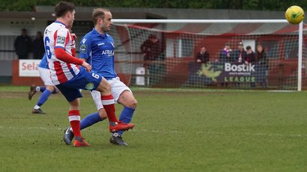Lowestoft's Andrew Fisk in action against Dorking Wanderers. Picture: Shirley D Whitlow