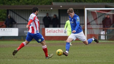 Lowestoft's Ollie Humphrey in action against Dorking Wanderers. Picture: Shirley D Whitlow
