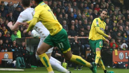 Mario Vrancic takes aim after another excellent outing for Norwich City, during his first season in