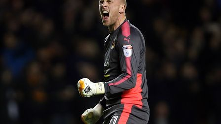 John Ruddy celebrates Wolves taking the lead during their 2-2 draw with Norwich at Molineux in Febru