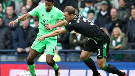 Steven Whittaker, right, in action for Hibs against Celtic earlier this season. Picture: Jane Barlow