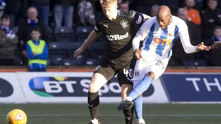 Youssouf Mulumbu in action for Kilmarnock against Rangers earlier this season. Picture: Jeff Holmes/