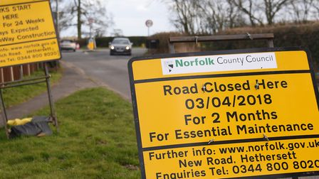 New Road at Hethersett which will be closed for two months at the junction with the B1172 Wymondham