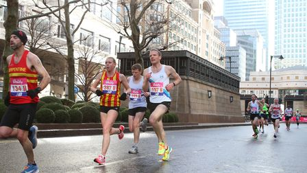 Dani Nimmock runs through Canary Wharf during the Big Half earlier this year. Picture: The Big Half