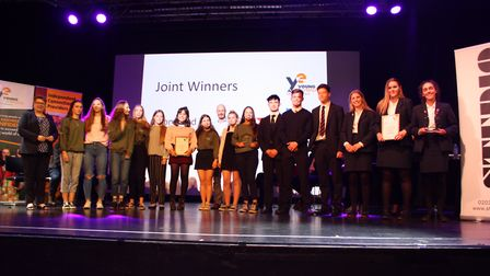 The joint winners for the Norfolk Young Enterprise Showcase 2018 competition, Tembo, run by students