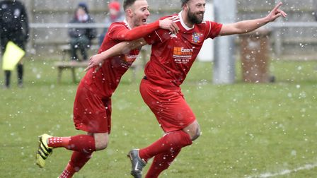 Jamie Stevens, right, scored the only goal as Wisbech Town won at Holbeach. Picture: IAN CARTER