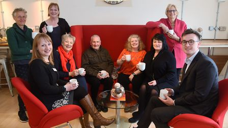 Sarah Daniels, fourth right, organiser, at the launch of Meet Up Mondays, a scheme to help tackle lo