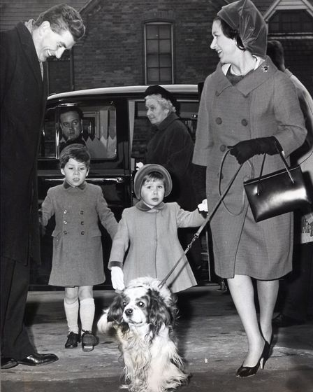 Princess Margaret with her two children, Viscount Linley and Lady Sarah Armstrong Jones, arriving at