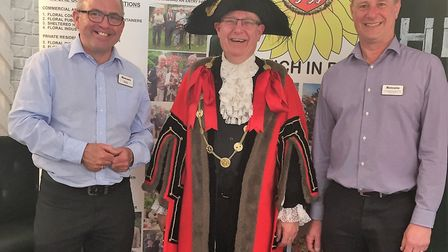 L-R Nick Bugden, deputy manager and Norwich In Bloom committee member with The Lord Mayor of Norwich