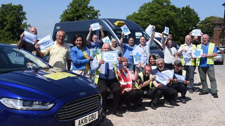 City taxi drivers get together after they all have been trained as dementia friends, with Marie Luca