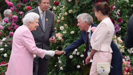 Her Majesty The Queen visits Peter Beales Roses at the Chelsea Flower Show. PHOTO: Peter Gooch.
