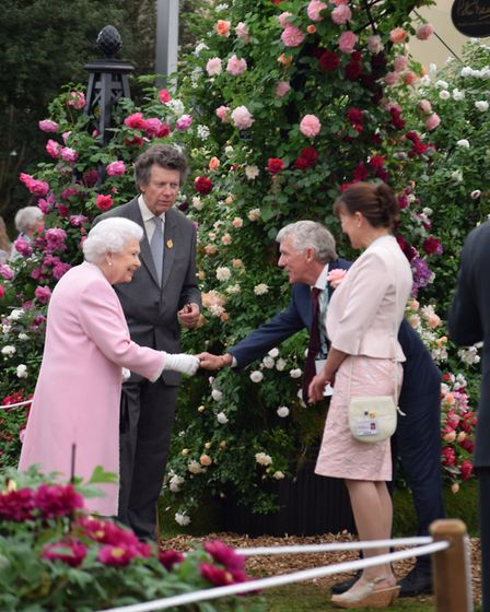 Her Majesty The Queen visits the Peter Beales Roses award winning stand at Chelsea Flower Show. PHOT