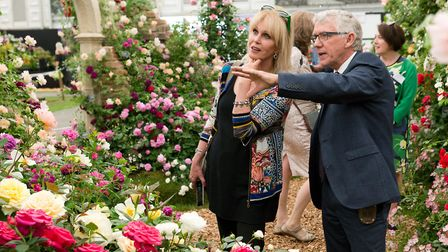 Joanna Lumley with Ian Limmer at the award winning Peter Beales Roses stand at Chelsea Flower Show.