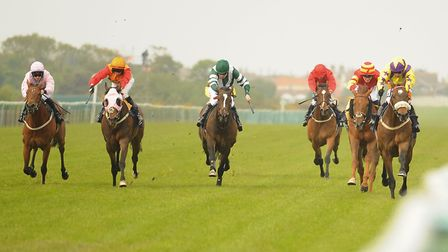 Jockey Silvestre De Sousa, right, wins the third race on Sean O'Casey at Great Yarmouth. Picture: DE