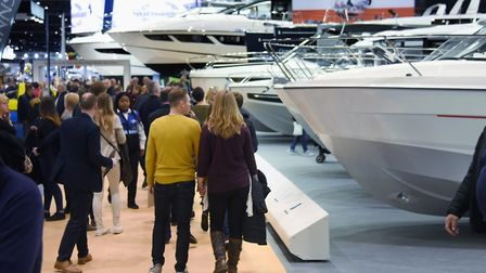 Crowds around the stylish boats on display at the London Boat Show 2018. Organisers announced the ca