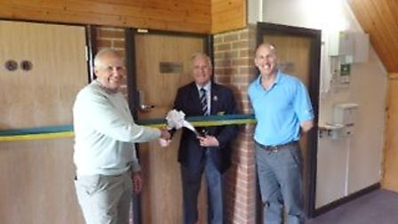Colin Firmin, Suffolk Golf Union President, officially opens the changing rooms, with Richard Mares,