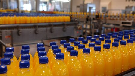 Bottles on the Britvic production line in Norwich Picture: James Bass