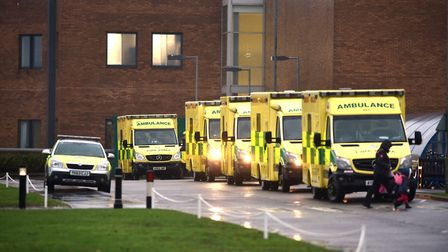 Ambulances queuing at the Norfolk and Norwich University Hospital A&E department.Picture: ANTONY KEL