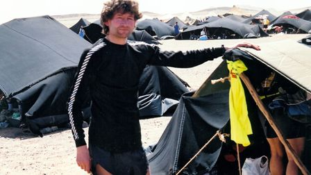 Carl Marston at base camp before the Marathon Des Sables. Picture: Carl Marston
