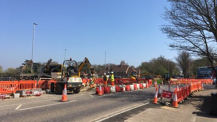 Roadworks on Sweet Briar Road roundabout. Picture: David Hannant