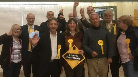 New Liberal Democrat councillor for Aylsham, Sue Catchpole, celebrates her victory with fellow Lib D