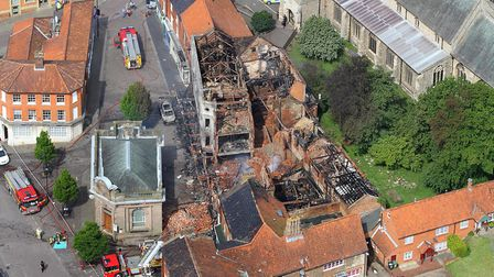 Mike Page's photographs of Fakenham town centre before and after the disastrous fire of Sunday 25th