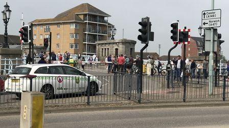 The barriers on Haven Bridge were stuck in the down position.Picture: Anthony Carroll