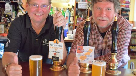 David Holliday of Norfolk Brewhouse and Martin Warren of Poppyland with their same recipe IPAs. Pict