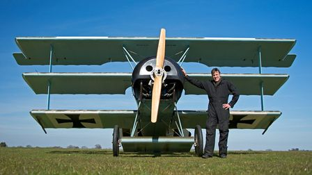 Pete Bond with his Fokker on the ground. Photo: Pete Bond
