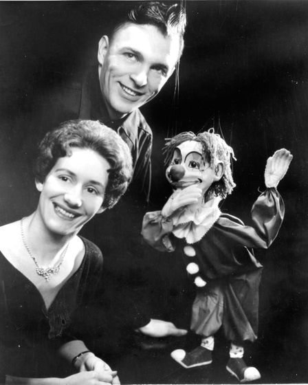 Puppeteers Ray and Joan DaSilva with one of their puppets in 1962.Photo: Lillian Ream, Wisbech
