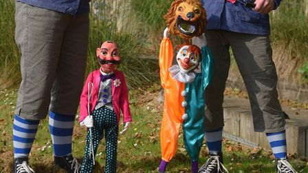 The puppets Ringmaster Stromboli, and Chalky the Clown, who were made by Puppet Theatre founders, Jo