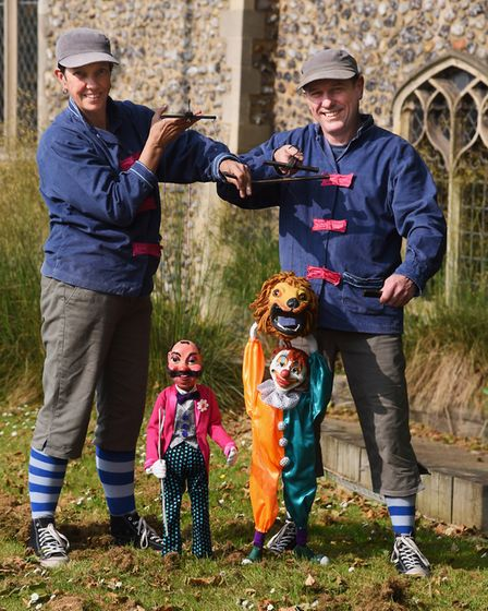 Puppeteers, Nik Palmer and Sarah Rowland-Barker, with the puppets Ringmaster Stromboli, and Chalky t