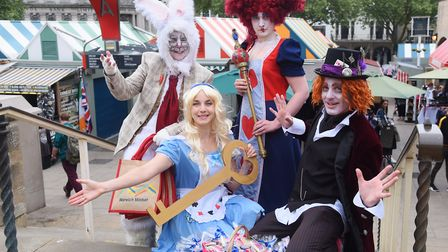 Alice (Katherine Vince) and friends, the White Rabbit (Rachel Nobes); the Queen of Hearts (Rachel Si