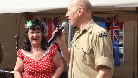 Chrissie and John Drury entertain visitors to Weybourne station at the North Norfolk Railway's Dad's