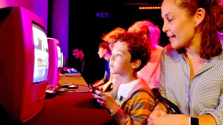 Eli Gray with his mum Angel at the 2018 Norwich Gaming Festival at the Forum.Picture: Nick Butcher