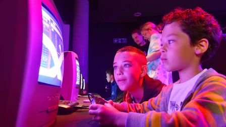 Eli and Mason Gray enjoy the 2018 Norwich Gaming Festival at the Forum.Picture: Nick Butcher