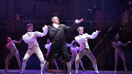 The West End production of Hamilton. Pictured in the centre is Giles Terera (Aaron Burr) with the Lo