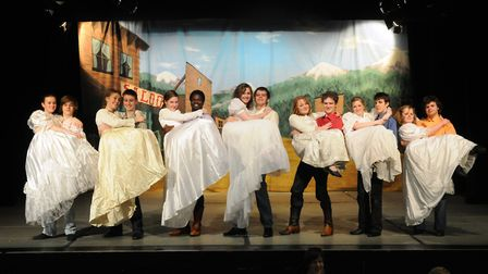 Seven Brides for Seven Brothers at The Hewett School, Norwich in 2009. From left are Eleanor Surbatt