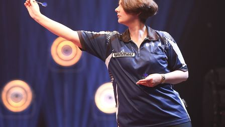 Roz Bulmer in action during the World Darts Trophy at the Preston Guild Hall, on her way to victory