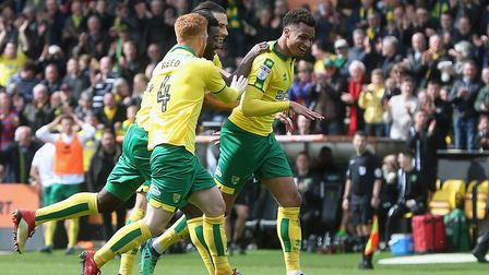 Josh Murphy celebrates scoring what was eventually voted Norwich City's goal of the season, in Carro