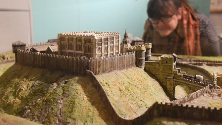 The model of the Castle and its defences and boundaries as they were in the 12th century, in the Squ