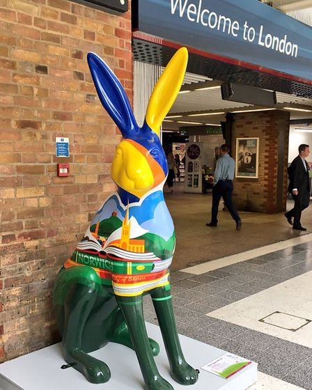 The GoGoHare Hare Comes The Sun will be on display at London's Liverpool Street rail station for a w