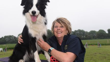 Dog agility trainer Jayne Widdess with Bass at the new business hub for all things canine at Barnard