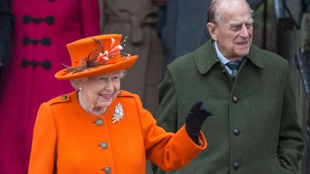 The Queen and the Duke of Edinburgh at the Christmas Morning Service at Sandringham Church in 2017.
