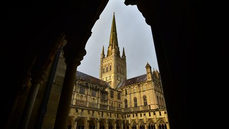 The Guild of St Stephen and St George is performing a mystery play outside Norwich Cathedral today.P