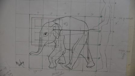 A sneak peek at the elephant puppets being created for the Circus250'parade.Byline: Sonya DuncanCopy