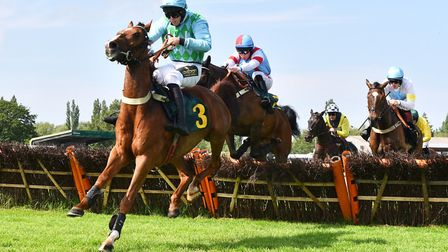 Action from the Maiden Hurdle race at Fakenham on Sunday. Picture: Sonya Duncan